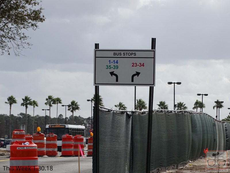 A new traffic pattern awaits arriving Studio guests. The main entrance recently paved vehicle lanes are now being utilized for visitor vehicles and Disney resort busses to enter the Park off of Lake Buena Vista Drive, including a new attendant booth for cast members to collect parking fees. The former two lane parking booth may soon disappear as have already many trees that formerly lined the north lot perimeter. Guests departing their parked cars on this near end of the lot can now catch a clear glimpse of the Morocco Pavilion and Spaceship Earth over in Epcot as they head for the Studio's main entrance. The ever popular Speedway gas station across the street is even visible now due to the tree clearing efforts.