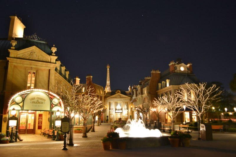 """Epcot France - As seen at night sometime during 2017 - the """"Before Picture"""" as in before Ratatouille"""