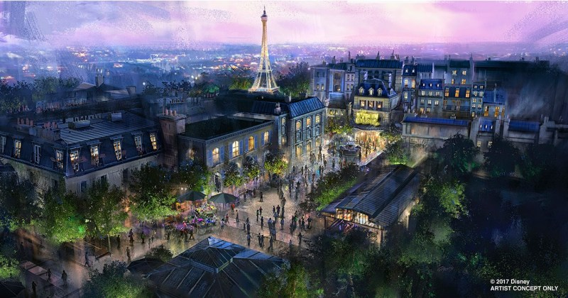 Concept Art from the D23 Expo 2017 doesn't show much detail of the anticipated Ratatouille Attraction in Epcots France.