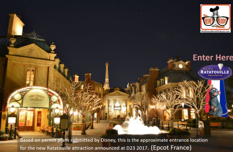 Epcot France - Based on information obtained from Disney Permits, the best we can determine is that the attraction entrance will be on the right side of the existing building - with the queue wrapping around to the back toward morocco and the new attraction building