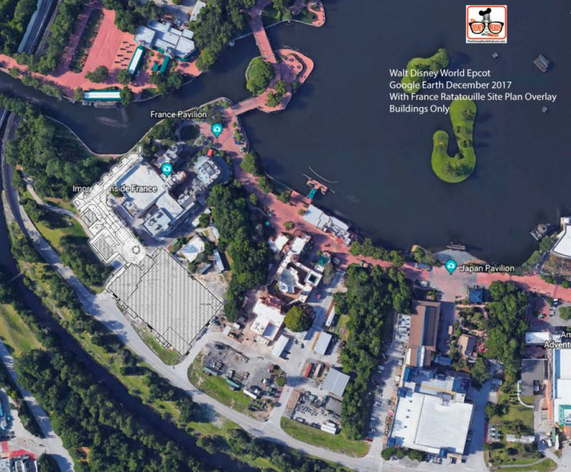 Overlay of the Building Only to the Google Earth Image - This includes Only the Building, and is a better representation of what the After will look like (Guest Building, non back stage)
