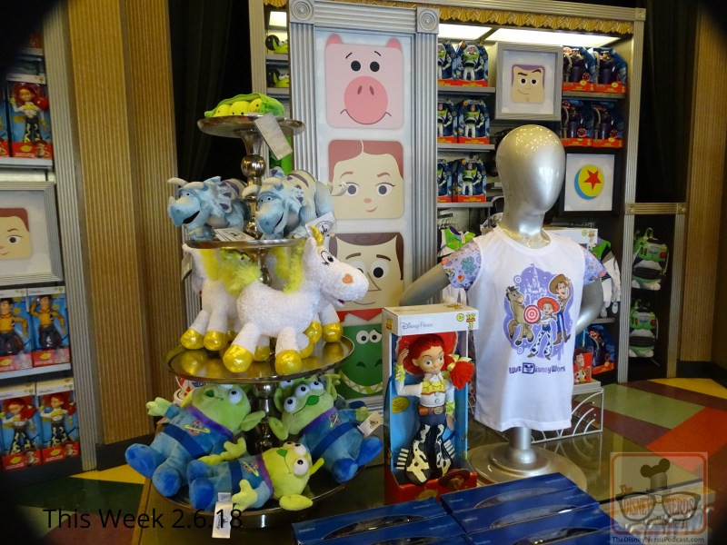 Speaking of Toy Story, head on over to Reel Vogue on Sunset Blvd for an abundance of tempting Toy Story merchandise on center display. Coco fans don't despair, as this merchandise still lingers in the corner shelves. By the way, since the release of this motion picture from Pixar Animation Studios last year around the world, Coco has grossed over $701 million worldwide. Wow! Shopping for studios- specific merchandise, perhaps for that Valentine's Day sweetheart? Then hike on over with your debit card in hand to The Tower of Terror gift store for a selection of Studios themed polos, sweatshirts and other neat attire. Mickey's Of Hollywood has merchandise that is featured around Mickey's gloves as pictured below. For fans that recall the days of Perry the Platypus, well, he has made a return at Movieland which is located outside of the park gates to the left right before the guest relations walk up windows. My, how time flies.