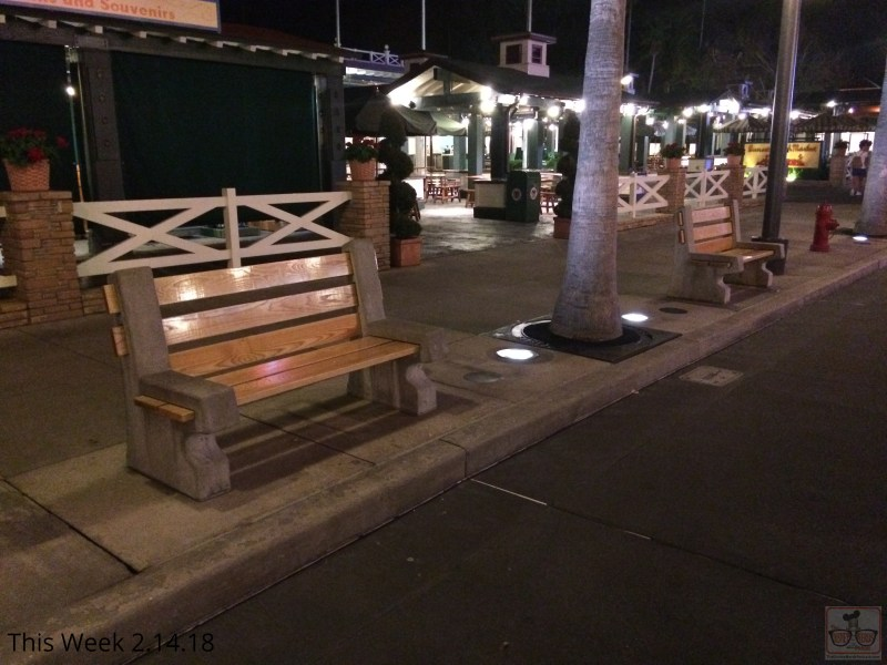 Weary fans can rest their feet thanks to the bench seats on Sunset Blvd sunset season's greetings now that they have returned in their normal positions in front of Sunset Market after the Christmas holiday.