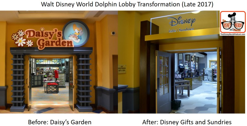 Walt Disney World Dolphin Lobby Transformation - Before and After Daisy's Garden now Disney Gifts and Sundries