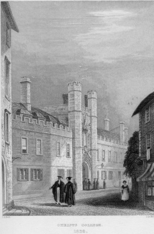 Engraving of Christ's College, by J. Le Keux after I. A. Bell. Published April 1838.