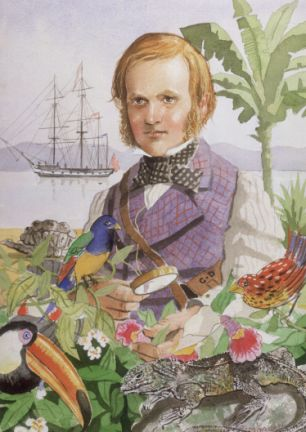 "Darwin portrait by Jeffrey Morgan, on the cover of ""Charles Darwin's Letters"" (CUP, 1998)"