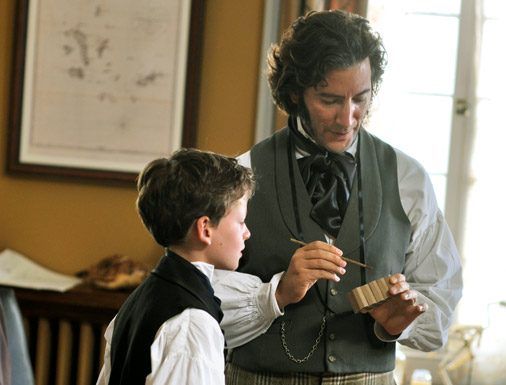 Darwin and a son doing science