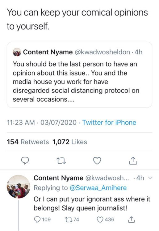 Kwadwo Sheldon Blasts Serwaa Amihere After She Expressed Her Disappointment In Carlos Ahenkorah[SCREENSHOT] 5