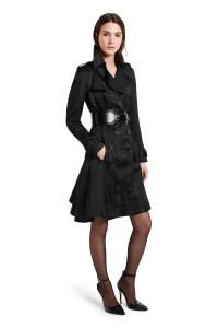Look 11 Trench Coat in Black Jacquard, $89.99 Croc Effect Belt in Black, $29.99 Ankle Strap Shoe in Black, $39.99
