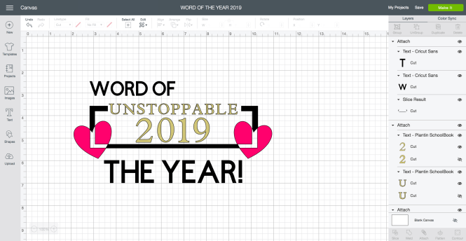 Word of the Year in Cricut Design Space