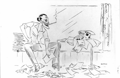 Caricature of screenwriter Terry Robinson at work on the Flying M.E., 1947. (Caricature by Joan Allison, Author Collection)