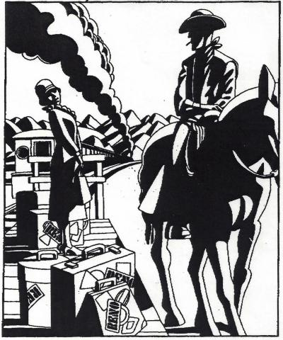 Cowboy meeting a lady at the Reno train depot. Illustration by B. Kliban