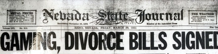 Front page of Nevada State Journal, March 20, 1931