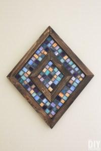 Diamond Shaped Wood and Mosaic Wall Art - Unique Wall Decor