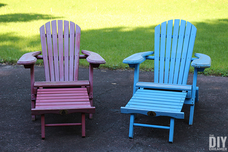 kids outdoor chair crate and barrel petrie adirondack chairs for colorful furniture with footrest that need a fresh coat of paint