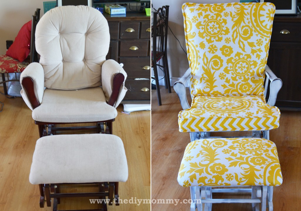 how to reupholster a chair cushion corner lowes outdoor lounge chairs update nursery glider rocking