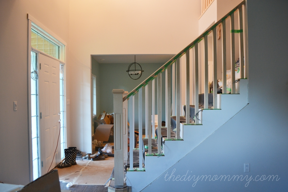 Finishing Our Stair Railings More Peeks At Our Almost Finished   Diy Farmhouse Stair Railing   Country Style   U Shaped   Horizontal Bar   Upcycled   Low Cost