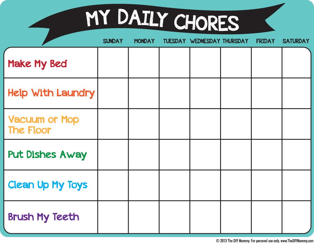chores calendar printable