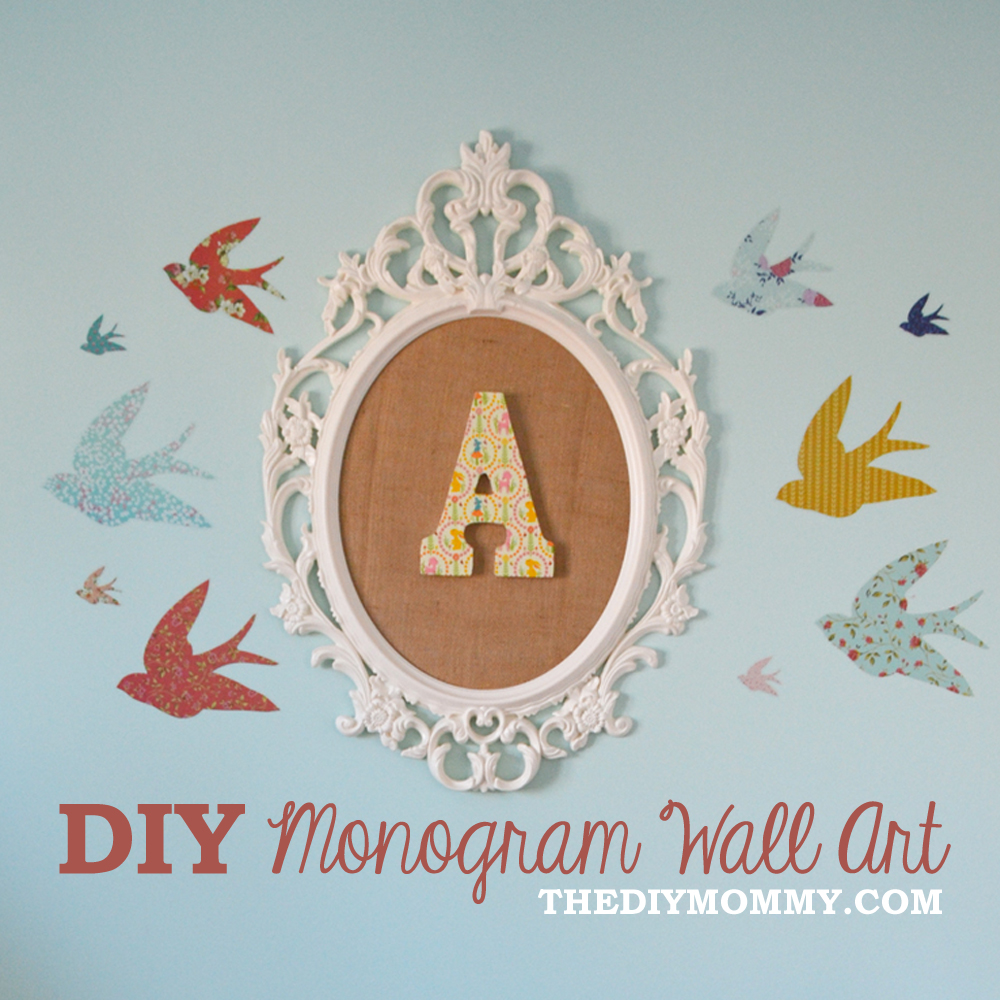 how to make diy monogram art for a nursery from an ikea frame and