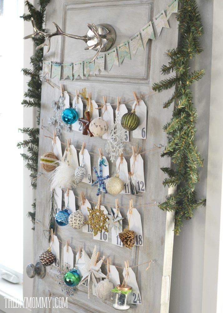 Make a Daily Ornament Advent Calendar from an Old Door