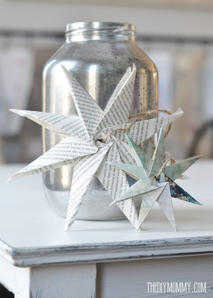 DIY Christmas Ornament Book Page or Map Paper Star