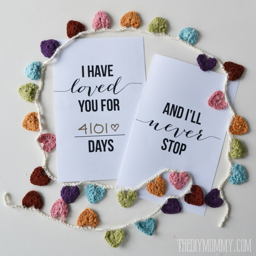 I Have Loved You For This Many Days Free Valentine Or Anniversary Card Printable The Diy Mommy