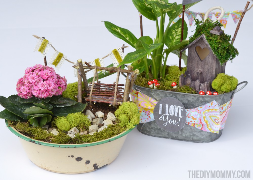 Mini Fairy Garden In A Tin Gift Handmade Mother's Day Gift Ideas