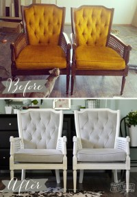 A Vintage Cane Chair Pair Makeover in Grey Velvet | The ...