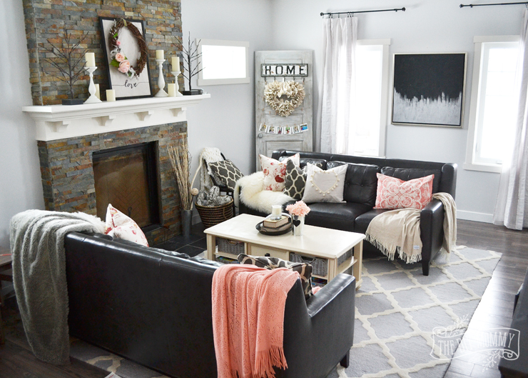 diy small living room design how decorate a black blush pink valentine s day home decor ideas pom white and