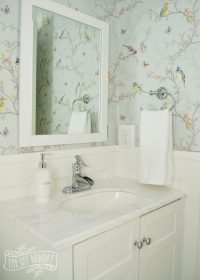 A Powder Room Makeover with DIY Wallpaper and Board & Batten