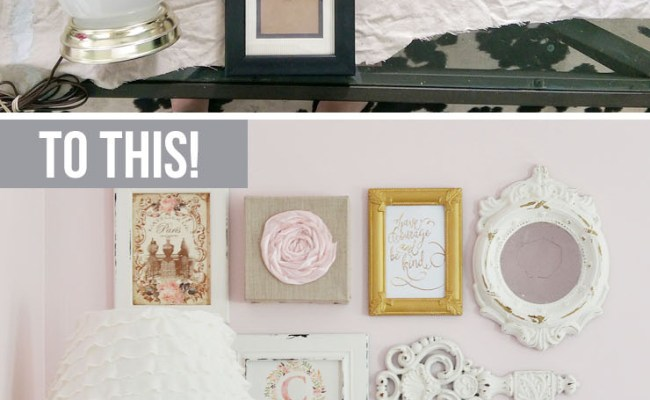 A Thrifted Shabby Chic Gallery Wall And Lamp Makeover