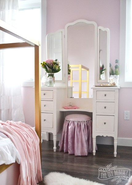 gold and pink girls bedroom ideas A Pink, White & Gold Shabby Chic Glam Girls' Bedroom