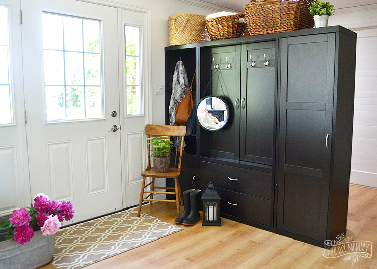 diy shelves in living room teal curtains ideas creating an entry using a cabinet as divider + our ...