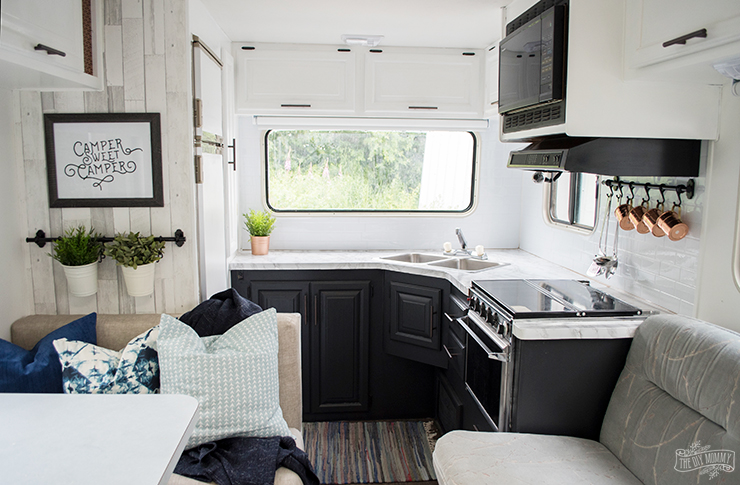 Our DIY Camper Kitchen Makeover Painting Oak Cabinets