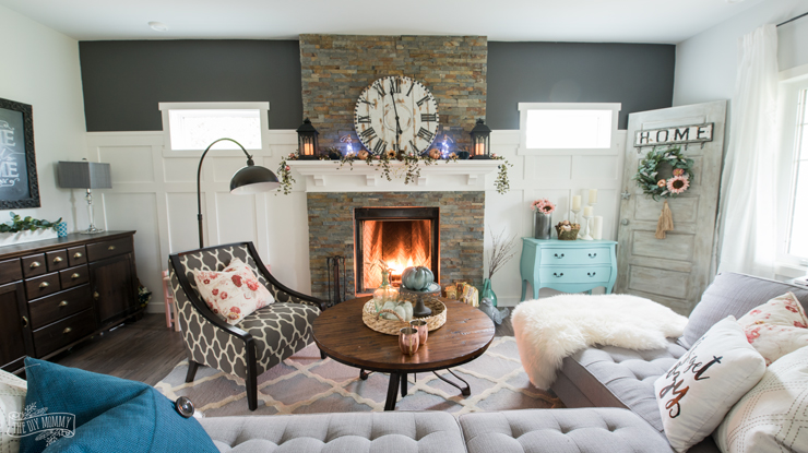 warm green colors for living room small library ideas fall 2017 home tour: cheerful boho farmhouse style