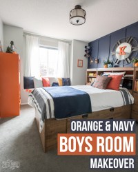 A Modern Navy & Orange Nautical Kids Room Makeover