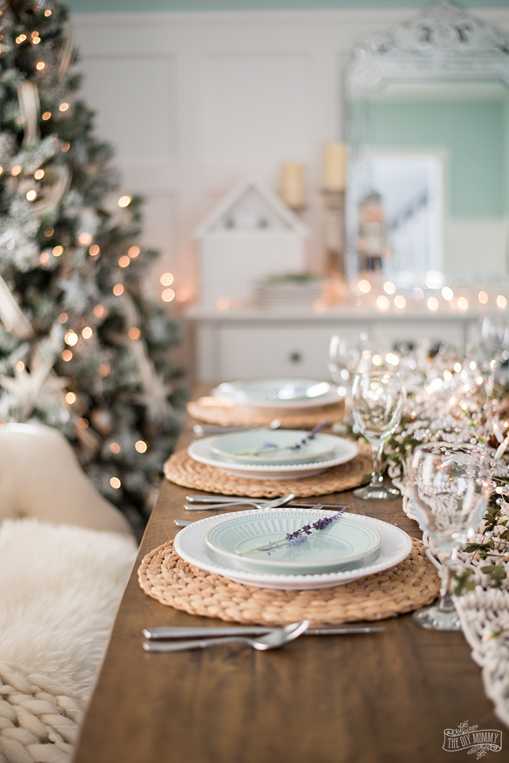 French Country Farmhouse Christmas Dining Room  Table Setting