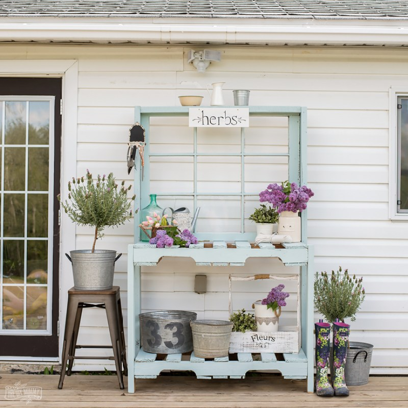 How to make a DIY potting bench out of old pallets, reclaimed wood and an antique window