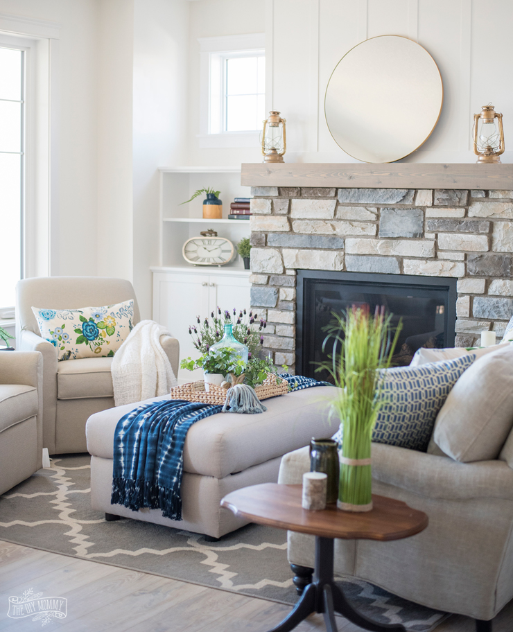 lake house living room ideas color for with brick fireplace traditional coastal cottage reveal mom s decor