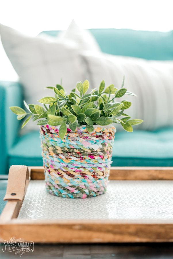 DIY Boho Inspired Flower Pot from Scrap Fabric Twine