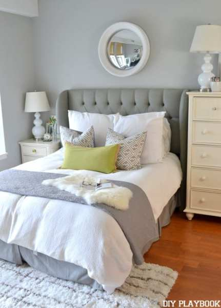gold and white master bedroom Master-Bedroom-Gray-White - DIY Playbook