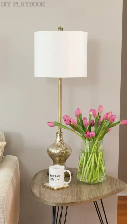 maggie reveal flowers lamp coffee