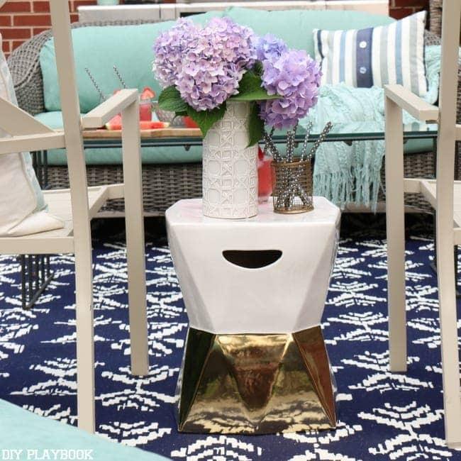 patio hydrangea vase gold