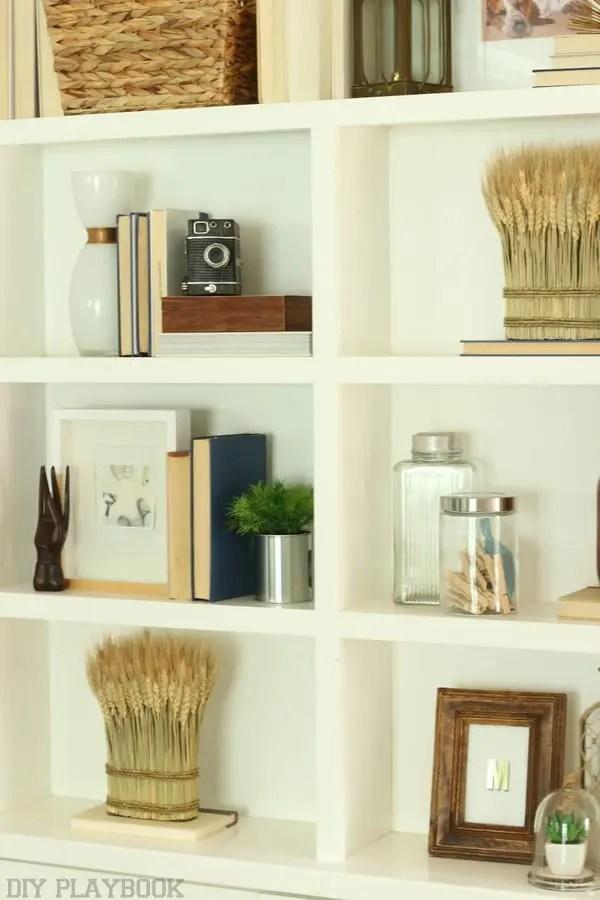 Fall Built In Shelf Decor