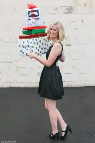 2016-DIY-Playbook-Christmas-Card-wrapped-gifts-bridget-back-dress