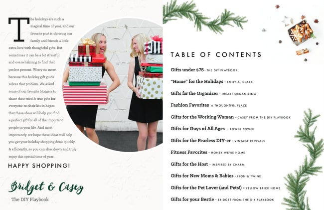 Gift Guide Table of Contents