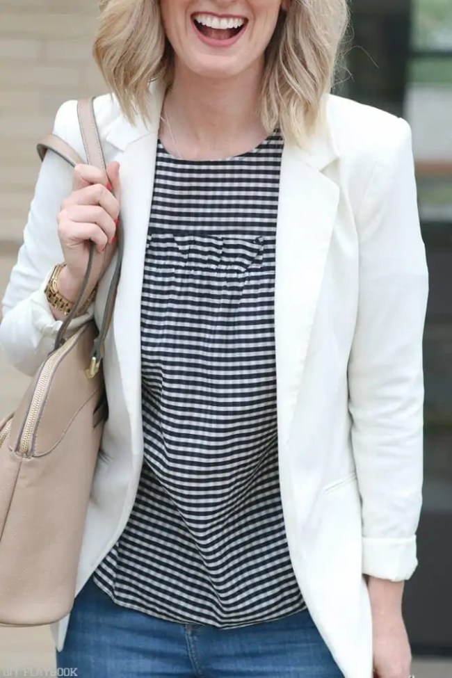 Gingham-cold-shoulder-blouse-fashion-blazer