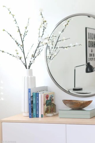 fauxdenza_mirror_Spring_branches_books_flowers