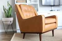 Cognac Leather Chair from Article for our Living Room Space