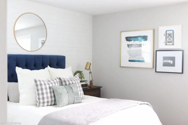 Bedroom-art-minted-headboard-round-mirror